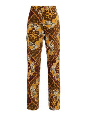 F.R.S - FOR RESTLESS SLEEPERS zelos tiger-print cotton-velvet trousers