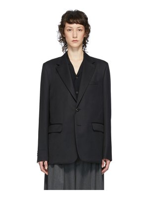 Fumito Ganryu black watteau pleat tailored blazer