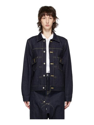 Fumito Ganryu indigo pleated denim jacket