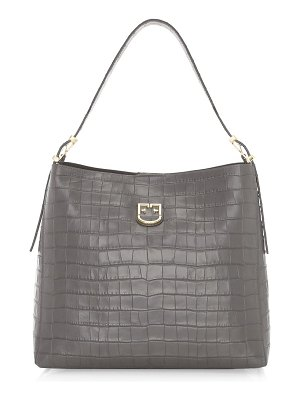 Furla medium belvedere crocodile-embossed leather hobo bag