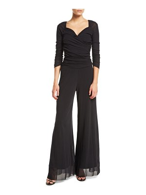 Fuzzi 3/4-Sleeve Sweetheart-Neck Tulle Jumpsuit
