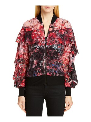 Fuzzi abstract dot ruffle bomber jacket