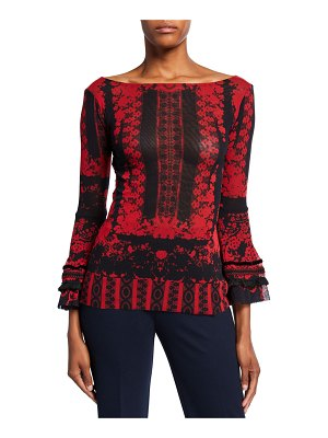 Fuzzi Andalusia Printed Boat-Neck Bell-Sleeve Top
