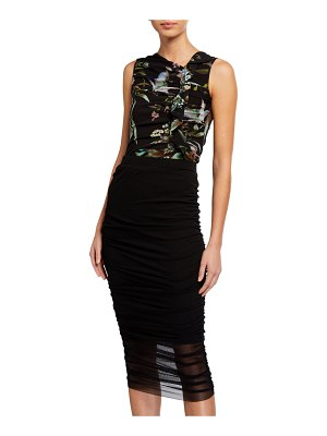 Fuzzi Bouquet Floral-Print Sleeveless Fitted Top