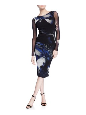 Fuzzi Butterfly Long-Sleeve Fitted Knee-Length Dress