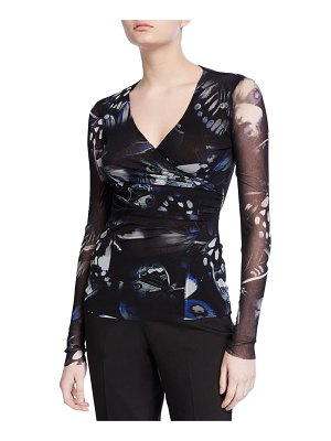 Fuzzi Butterfly Ruched V-Neck Long-Sleeve Top
