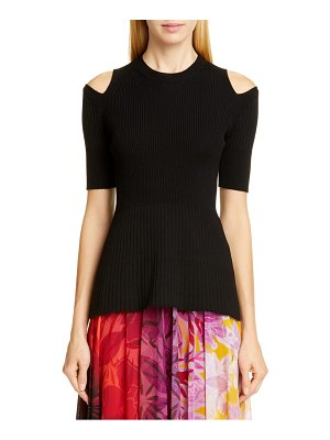 Fuzzi cold shoulder ribbed wool sweater