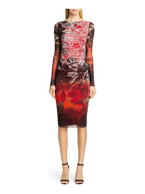Fuzzi degrade floral long sleeve ruched dress