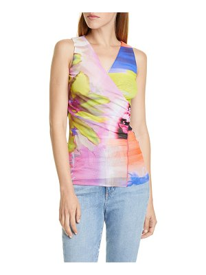 Fuzzi floral & chevron sleeveless wrap top