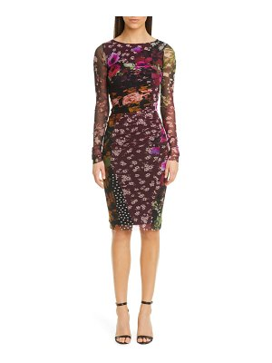 Fuzzi floral & dot ruched long sleeve dress