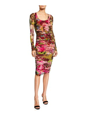 Fuzzi Floral Long-Sleeve Shirred Dress