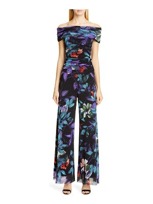 Fuzzi floral off the shoulder jumpsuit