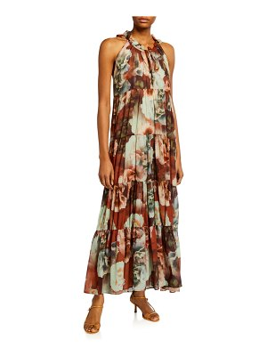 Fuzzi Floral Print Cotton Voile Tiered Ruffle Maxi Dress