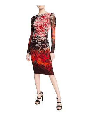 Fuzzi Floral-Print Degrade Long-Sleeve Fitted Dress
