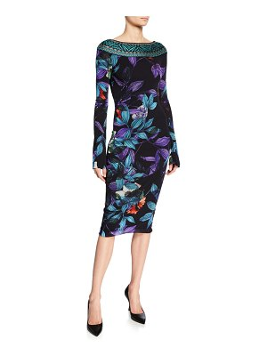 Fuzzi Leaf-Print Bateau-Neck Long-Sleeve Dress