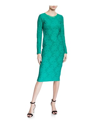Fuzzi Long-Sleeve Fitted Lace Dress