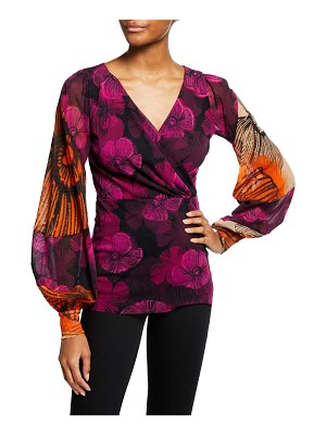 Fuzzi Mixed Floral Deco Bishop-Sleeve Tulle Top