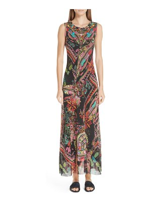 Fuzzi print tulle maxi dress