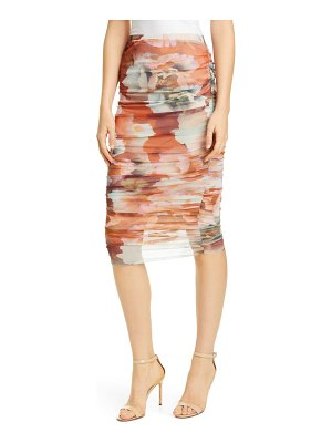 Fuzzi ruched floral print tulle skirt