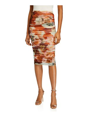 Fuzzi Ruched Peony Floral Print Fitted Skirt