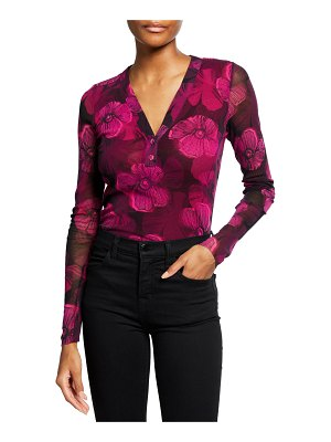 Fuzzi Small Floral Deco Long-Sleeve Henley Top