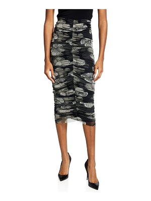 Fuzzi Small Floral Deco Ruched Tulle Pencil Skirt