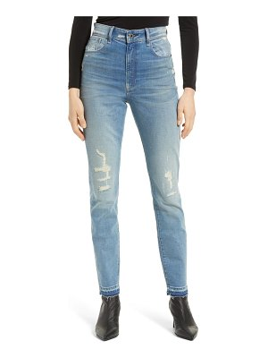 G-Star RAW kafey distressed ultra high waist released hem skinny jeans