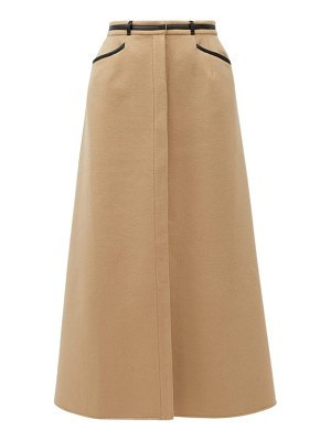 GABRIELA HEARST alina leather-trimmed recycled-cashmere skirt