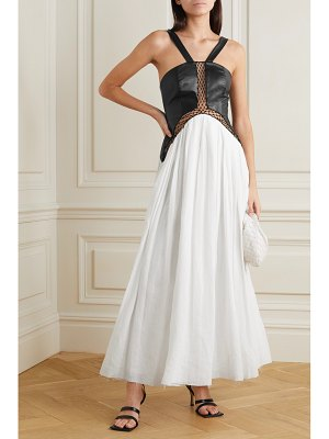 GABRIELA HEARST athena tulle-trimmed leather and linen maxi dress