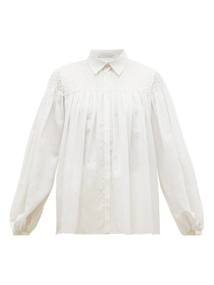 GABRIELA HEARST carmen shirred-panel wool-blend gauze blouse