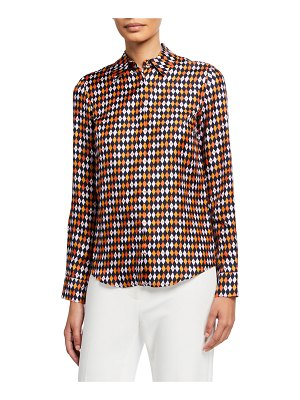GABRIELA HEARST Henri Diamond-Print Silk Shirt