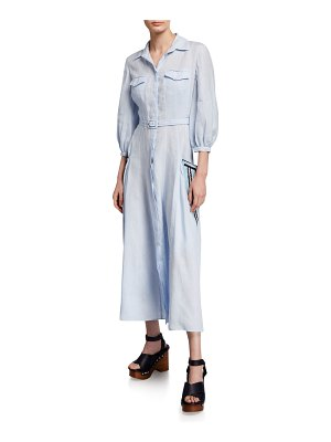 GABRIELA HEARST Linen Embroidered-Pocket Shirtdress