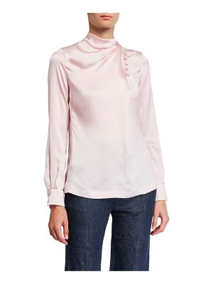 GABRIELA HEARST Marcelina Satin Silk Button-Neck Blouse