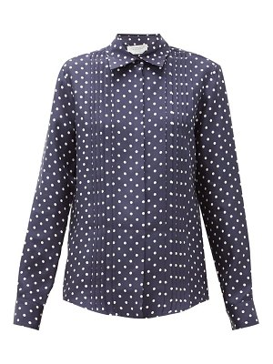 GABRIELA HEARST mirtha polka-dot pintucked silk-twill shirt