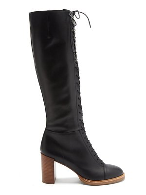 GABRIELA HEARST pat lace-up knee-high leather boots