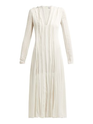 GABRIELA HEARST pearl pintucked silk chiffon midi dress