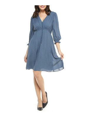 Gal Meets Glam Collection andrea smocked shoulder clip dot fit & flare dress