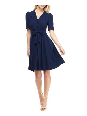 Gal Meets Glam Collection bella button front fit & flare dress