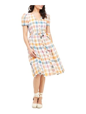 Gal Meets Glam Collection Checkered Button-Down Short-Sleeve Fit-and-Flare Dress