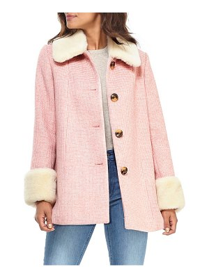 Gal Meets Glam Collection eloise check coat with faux fur trim