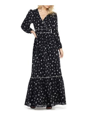Gal Meets Glam Collection ariana floral long sleeve chiffon maxi dress
