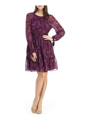 Gal Meets Glam Collection primrose floral long sleeve fit & flare chiffon dress