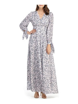 Gal Meets Glam Collection florence floral tie cuff long sleeve maxi dress