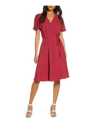 Gal Meets Glam Collection kinsley flutter sleeve wrap dress