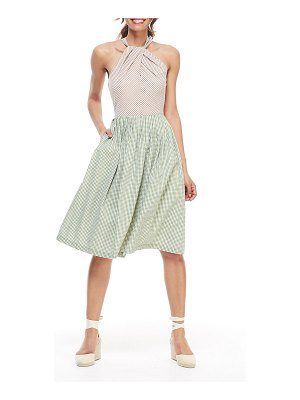 Gal Meets Glam Collection Gingham Colorblock X-Back Pleated Halter Dress