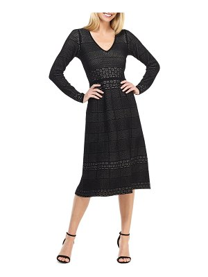 Gal Meets Glam Collection heidi mixed stitch long sleeve sweater dress