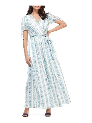 Gal Meets Glam Collection imogene floral stripe wrap maxi dress