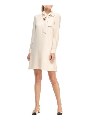 Gal Meets Glam Collection ines tie neck long sleeve shift dress