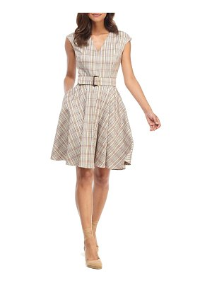 Gal Meets Glam Collection kelly plaid belted fit & flare dress