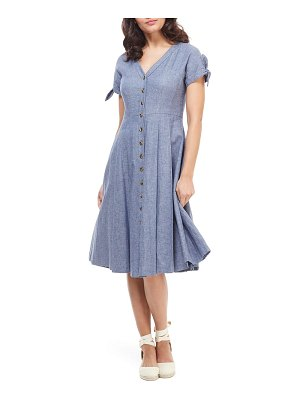 Gal Meets Glam Collection lenna button front linen blend fit & flare dress